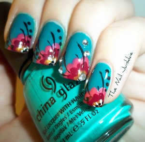 A cool blue bohemian floral design inspired by the flora of the Caribbean!
