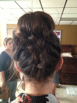 Ballerina bun with French braid