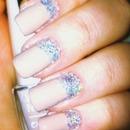 Nude/ glitter nails