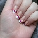 Pansy French tip nails