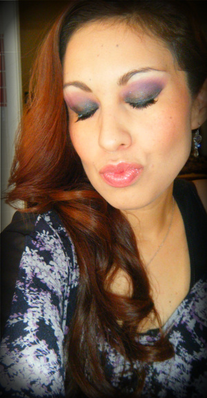 Did a smokey eye today with a pop of color. Added some half falsie lashes for the first time and loved the results :)