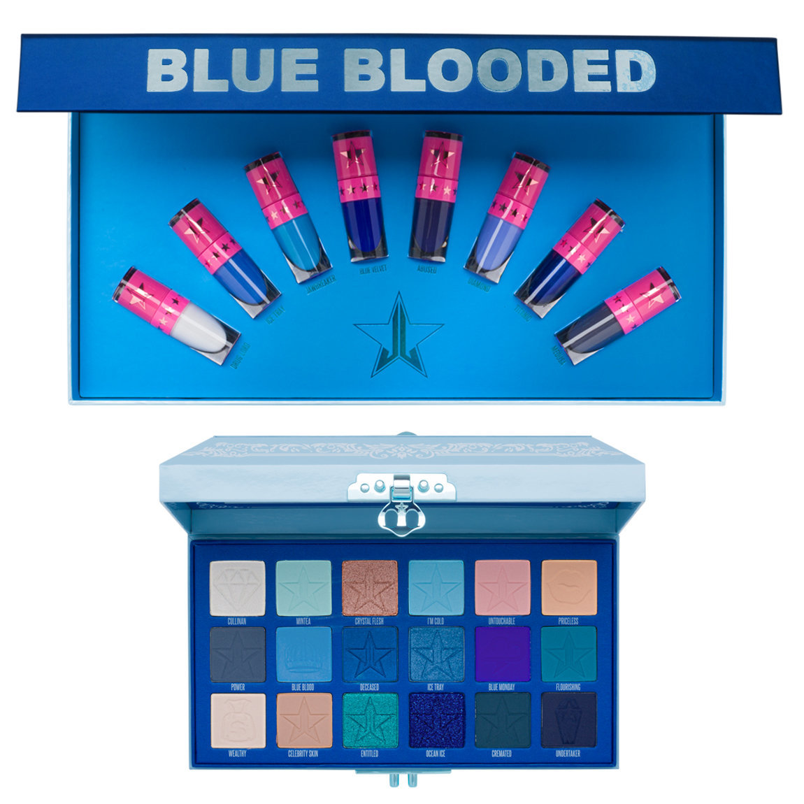 Jeffree Star Cosmetics Blue Blood Eyeshadow Palette & Mini Blue Blood Bundle product swatch.