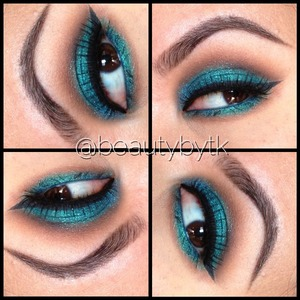 Sparkly teal eyes with soft brown eyeshadow