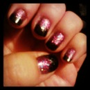 Glittery purple & black fade