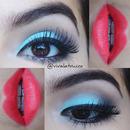 Baby blue makeup