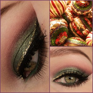 used: pigment 'zen' bij zoeva on the lid, other eyeshadow colors from the ultra mattes v2 palette. Lashes are red cherry #47. Gold glittereyeliner by NYX. Follow me on instagram: http://instagram.com/makeupbyeline/