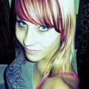 Red bangs with blonde highlights!