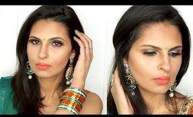 Indian Party/Wedding/Reception/Sangeet Makeup Tutorial   Teal and Orange Eyeshadow   Manisha Moments