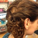 French Braided Updo with intertwined mini braids