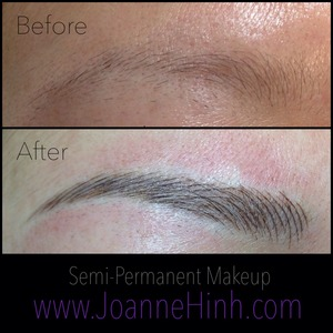 Client had sparse and fine brows.  She was tired of drawing them in everyday.  I shaped it slightly different than hers to suit her.  A very natural approach to semi-permanent makeup.