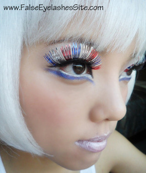 Fun lashes for Fourth of July! ^O^ Read both blog posts for interesting and helpful tips and photos! http://falseeyelashessite.com/blog/2011/06/17/fun-colorful-lashes-for-fourth-of-july-they-glow-in-the-dark/  http://falseeyelashessite.com/blog/2012/06/27/how-to-get-the-most-out-of-your-red-white-and-blue-fourth-of-july-falsies/