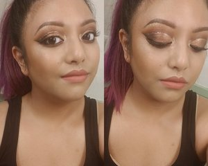 Achievable with just the Soft Glam pallette!   Products not tagged - - Ulta brand glitter liner - silver  - NYX Brow Gel - Espresso  - NYX Lip Lingerie (matte formula) - Exotic - Wet N Wild photofocus Foundation - Desert Beige - Fenty Match Stix - Truffle - MAC Powder Blush - Gingerly - Morphe brushes - Coty Airspun Powder  - Colourpop Super Shock Highlight - Lunch Money