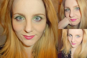 Neon green eyes contrasted with a bright pink lip