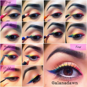 how to get the perfect rainbow eyeliner   more of this on ladyartlooks.com  instagram @alanadawn instagram @ladyartlooks