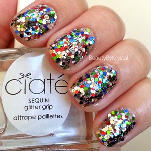 The sequins look amazing,Glitter Grip polish locks the glitters in place so there is no fall out or snagging edges. Great kit!