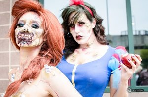 Zombie Ariel and Snow White Comiconn 2014  Photo Credit: Jesse Newman  Models: IG She_loves_fx @Julia Williams  Jessica McCurry  #makeup #fxmakeup #halloween #zombie #disney #disneyprincess #princess #ariel #snowwhite #halloween #cosplay #costume