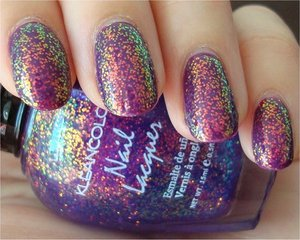 KleanColor 234 Chunky Holo Purple Over OPI Can You Dig It? More photos here: http://www.swatchandlearn.com/kleancolor-chunky-holo-purple-swatches-review/