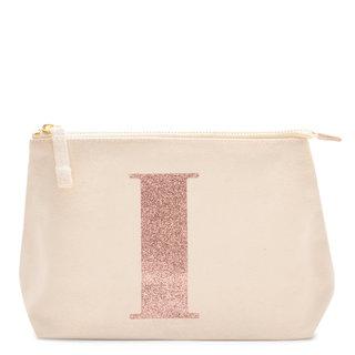 Rose Gold Glitter Initial Makeup Bag Letter I