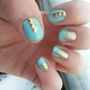 Blue, gold & studs