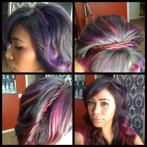 This is a style id did when I learned how to Rope Braid. I had also just colored my hair Red and Purple.