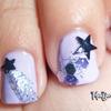Glittery Shooting Stars Nail Art