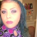 Purple smokey eye and magenta lip
