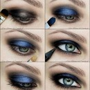 Blue smokey step-by-step look