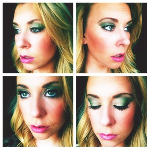 I used the Graffiti shadow from the Urban Decay Deluxe Shadow Box. The color of the Mac Lip Pencil is Hip N Happy.