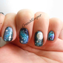 Galaxy Moon Accent Nails