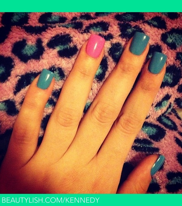Turquoise Nails With Hot Pink Accent Nail Stephanie K S Kennedy Photo Beautylish