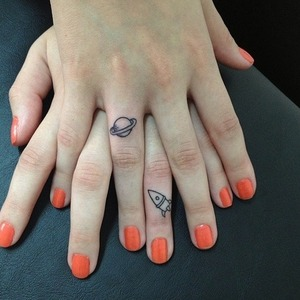these are my friends nails! I love her space-ish tatoos x