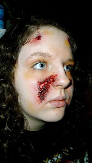 Fast Food Robbery Victim. makeup by me on Tasha, my little sister:)