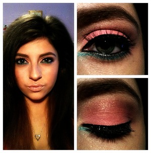Light pink on the lids, purple in crease, blue on lower lashline. Inspired by cotton candy.