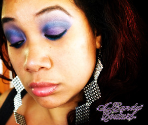 In this photo I am using products that can be purchased at I-Candy Couture: I-Candy Fix - Eye Primer Sterling Rose Mineral Eye shadow palette Black Out Gel Eyeliner Peaches & Creme Mineral e/s pigment I-Candy Couture Lipstick in Strawberry Cheesecake *Ear