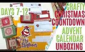 Crafty Christmas Countdown Calendar Unboxing DAYS 7-12, Crafty Countdown Swap Embellishment Swaps