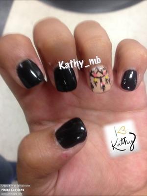 All black small nails with dream catcher design