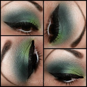 Green smokey eye using dollipop cosmetics