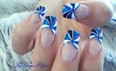 RE-EDITED Blue, French Tip Nail Art Design Tutorial - ♥ MyDesigns4You ♥