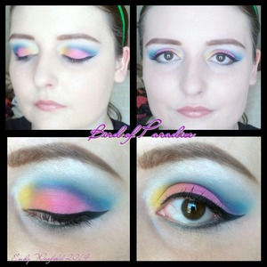 "Colorful look using drugstore products! Products used: e.l.f. Eyelid Primer; NYX Jumbo Eye Pencil in ""Milk""; e.l.f. Essential Little Black Beauty Book - Eye Edition in ""Night""; NYX Super Skinny Marker in ""Carbon Black""; Maybelline Volum' Express One-by-One Waterproof Mascara in ""Blackest Black""; e.l.f. Mist & Set spray"