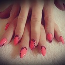 Gel Nails - Peach color, Leopard pattern