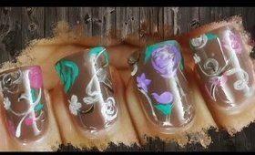 Chocolate Floral Artistic Nail Art