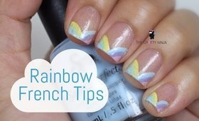 Pastel Rainbow French Tip Nails by The Crafty Ninja