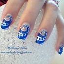 Blue Swirl Nail Design
