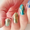 Antique Gold on Blue-to-Gold Ombre Nails