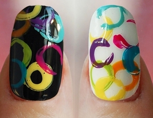 Abstract-Rainbow Circle Nails 