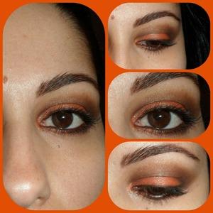 Look en naranja y marrón inspirado en las hojas de los árboles en otoño