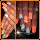 neon peach & white