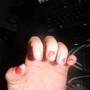 taped nail, peachs & cream