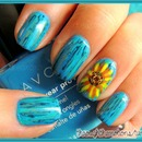 Rustic Sunflower Nails