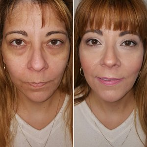 Client's Before and After using natural and clean makeup techniques.